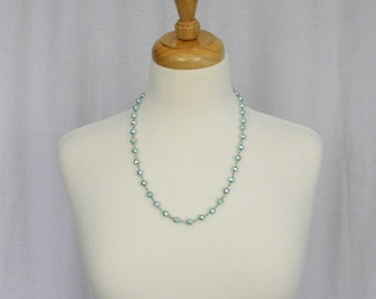 Pale Blue Faceted Glass Pearl Necklace, Single Strand, Handmade Links,