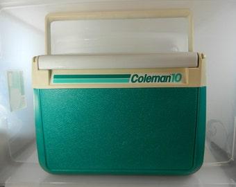 Vintage Coleman Cooler 5210 1988 Coleman 10 Seafoam Green, Teal Retro Cooler