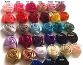 ON SALE WHOLESALE Satin Roses Satin Rosettes Vintage Roses Baby Headbands Wedding Roses Flowers Beautiful Rolled Satin Roses Rosettes Embell