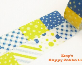 Japanese Washi Masking Tape - Yellow and Blue Geomatic Patchwork - 6.5 yards