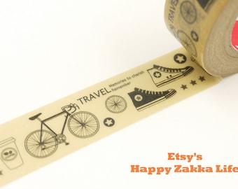 Travelling by Bicycle - Japanese Washi Masking Tape - 11 yards