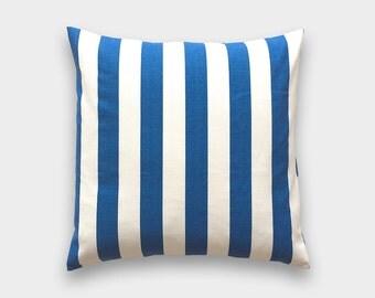 Cobalt Blue Stripe Throw Pillow Cover. 18X18 Inches. Royal Blue Stripe. Decorative Pillow Cover. Blue Canopy Stripe Pillow Cover.