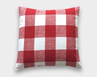 Red Buffalo Check Throw Pillow Cover. 18X18 Inches. Lipstick Red and White Gingham. Plaid Decorative Cushion Cover.