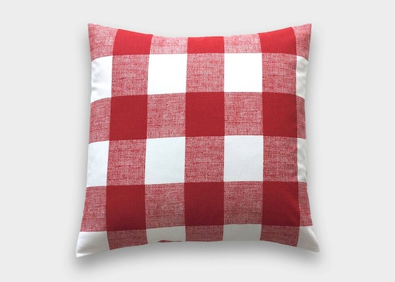 Red Buffalo Check Throw Pillow Cover. Lipstick Red and White