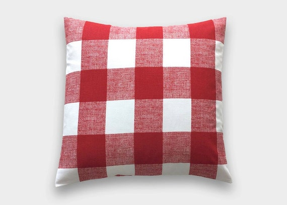 Red And White Throw Pillow Covers : Red Buffalo Check Throw Pillow Cover. Lipstick Red and White