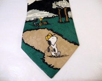 Vintage SNOOPY TIE - Golf Necktie - Peanuts Woodstock - 100% Silk Hand Sewn - Father's Day, Gift For Dad, Present for Man, Husband, Grandpa
