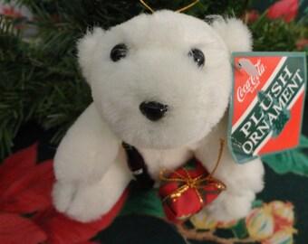 "Vintage Christmas ""Coca-Cola"" Plush White Polar Bear Ornament ""1993"", like new, Original Tag still attached,"