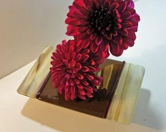 Fused Glass Ikebana Vase Art Glass Home Decor Earth Tones Browns Vanilla Flower Bud Vase Gifts for Him Under 50 Dollars For Her