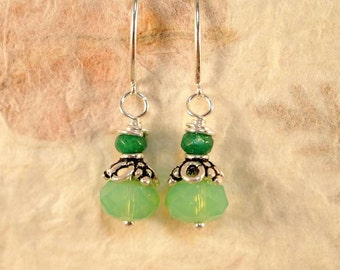 Tourmaline Beaded Earrings,  Faceted Gemstone Drop Pierced Earrings Gift For Her Healing Gemstone Earrings, Green Statement Earrings