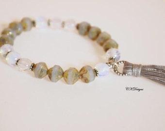 Beaded Tassel Bracelet, Stackable bracelet, Czech Glass Tassel Bracelet, Moonstone Beaded Stretchy Bracelet. Gift for Her Handmade Bracelet.