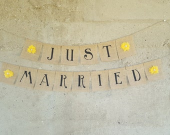 Just Married Burlap Wedding Banner With Yellow Flowers