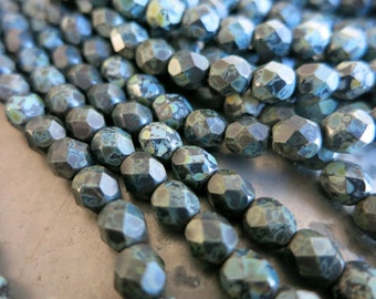 6mm Faceted Czech Glass Beads, Matte Jet, Picasso Finish, Firepolished Full Strand 25 Beads