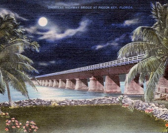 Florida Keys Bridge Vintage Postcard digital download