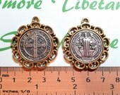 2 pcs per pack 32mm Reversible Two Tone San Benito decorated edge Medallion Pendant Antique Silver Lead free Pewter