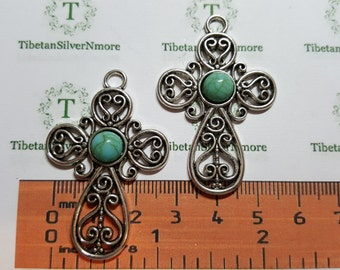 2 pcs per pack 47x30mm Filigree Cross Pendant with Turquoise Antique Silver Lead Free Pewter