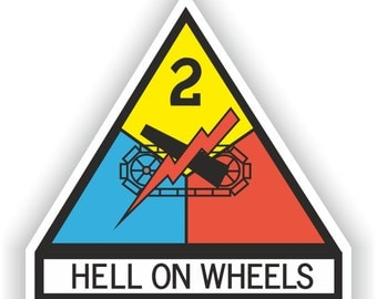 2nd Armored Division Hell on Wheels  Sticker for Laptop Book Fridge Guitar Motorcycle Helmet ToolBox Door PC Boat