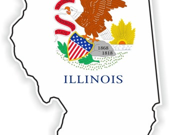 Illinois Map Flag Silhouette Sticker for Laptop Book Fridge Guitar Motorcycle Helmet ToolBox Door PC Boat