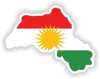 Kurdistan Map Flag Silhouette Sticker for Laptop Book Fridge Guitar Motorcycle Helmet ToolBox Door PC Boat