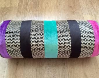 Brown BOLSTER velvet cushion cover Pink Teal Purple velvet pillow, VELVET linen stripe Osborne and Little Designer fabric Wide STRIPE pillow