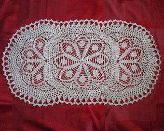 Crochet Table Runner. cotton home decor. Lace crochet doily, table runner. rectangle doily. MADE TO ORDER.