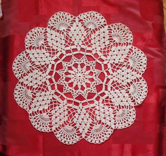 Round lace crochet doily. off white. ecru. ivory. 16 inches. MADE TO ORDER
