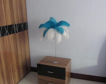 100 feathers  White & Turquoise Ostrich Feather Plume for Wedding centerpieces,