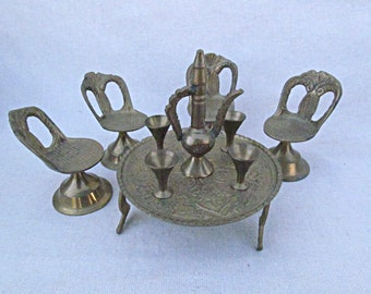 Vintage Brass Furniture Table and Chairs Doll Hose Furniture Miniature Furniture
