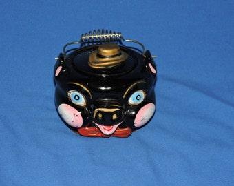 Vintage Black Pig Pot Ceramic Hog Face With Lid Sugar Bowl Metal Handle Table Kitchen Decor 1950s 50s