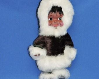 Vintage 70s Alaska Eskimo Doll Handmade Fur Parka Clothing Rubber Doll Baby 12 Inch