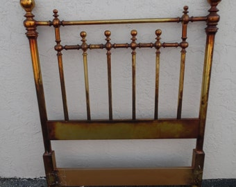 WOOD-BE BRASS / Twin Size Wood Headboard Painted To Resemble Brass / Traditional And Beautiful