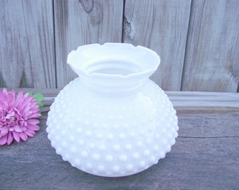 """Antique MILK GLASS Hobnail Parlor Lamp SHADE Fenton - for 6"""" fitter - Replacement - Crimped Fluted Top Style #2"""