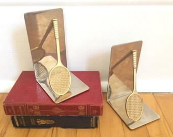 Tennis Racquet Bookends - Silver Bookends - Tennis Racquet Charm - Vintage Tennis Racquet - Sports Decor