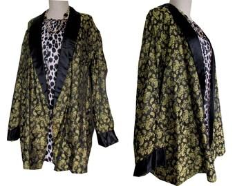 Metallic Paisley Gold Black Brocade Shiny Oversized Menswear Baggy Blazer Smoking Jacket