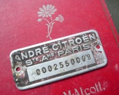 Vintage Metal Citroen Motorcycle/Car Tag