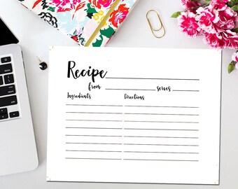 Black Bridal Shower Recipe Cards, Printable White and Black Bridal Shower Recipe Card, Black and White Pink, Instant Download BR15