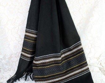Lovely, hand woven, Honduran, scarf, Black, brown, ivory, grey with fringe