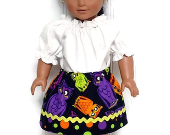 18 inch Doll Clothes Skirt Halloween Owls Polka Dot 15 inch Doll Clothes