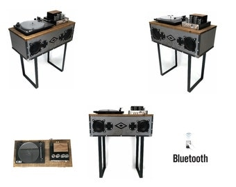 EXCLUSIVE CUSTOM series - VintedgeCo Mini Premier™ Console Record Player in Industrial - Bluetooth - Turntable - Tube Amplifier