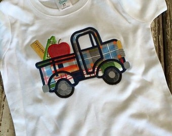 Back to school shirt, apple truck shirt, boys back to school