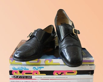 70s Black Patent Monk Shoes Womens Size 7 US, 4.5 UK, 37.5 EU Patent Leather Gold Buckle Detailed Cute Vintage