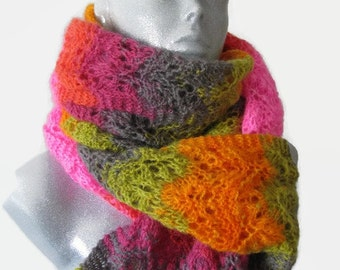 Multicolor lace scarf bright color scarf hipster scarf pink scarf orange scarf green purple scarf lace scarf hand knit cozy scarf