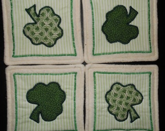 Primitive Whimsical Country Tumbling SHAMROCKS Coasters Mug Mats Hot Pads Trivets