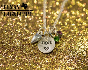 Hand Stamped Mom Necklace with Birthstone and Heart Charms