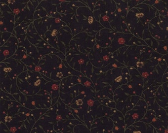 on SALE thru 8/1 moda fabric by 1/2 yard Kansas Troubles Quilters FAVORITES II- flower sprigs on black 9410-19