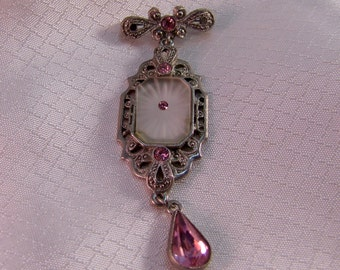1928 Jewelry Co. Victorian Camphor Glass and Pink Rhinestone Brooch