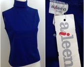 Vintage NOS Deadstock 1960s Blue Knit Sleeveless  Mock Neck Blouse Top / Women's Medium / 60s Mod GoGo Scooter Girl Unworn