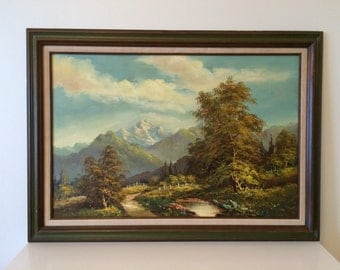 Vintage Oil Landscape Painting Mountains Trees Stream Original Framed green blue natural colors