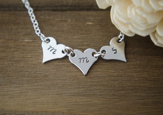 Three Initials Necklace | Silver 1 2 3 4 5 Letters | Hand Stamped Personalized Jewelry | Silver Monogram | Mom of 3 | Mother's Day Gift