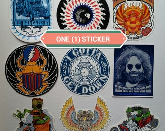 INDIVIDUAL Grateful Dead stickers - original artwork from lot tee shirts - Jerry, hippie, 420, lsd, Furthur, Ed Roth, Rat Fink