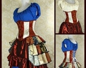 "Red and White Patchwork Waspie Corset - Corset Size 22, Fits Waist 25""-27"" - Ready to Ship"